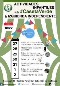 Actividades infantiles en la #CasetaVerde de Izquierda Independiente