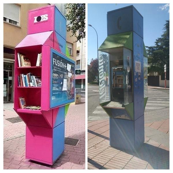 cabinas telefónicas de Sanse convertidas en bibliotecas urbanas y puntos wifi gratuitos 600x600