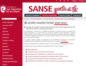 Anuncio de ayudas para becas de comedores escolares de 300.000 € para 2020-2021